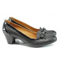 Анатомични дамски обувки от естествена кожа МИ 300 черен | Дамски обувки на среден ток | MES.BG