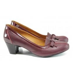 Анатомични дамски обувки от естествена кожа МИ 300 бордо | Дамски обувки на среден ток | MES.BG