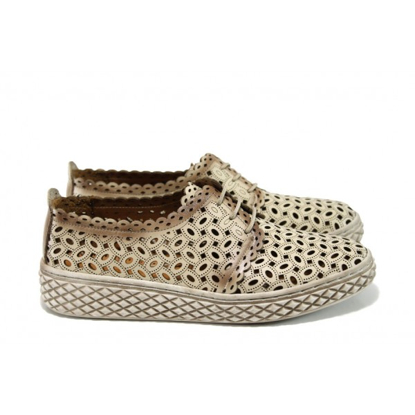 Анатомични дамски обувки от естествена кожа МИ 399 т.бежов   Равни дамски обувки   MES.BG