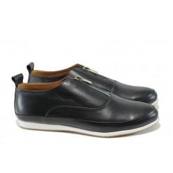 Равни дамски обувки от естествена кожа МИ 195 черен | Равни дамски обувки | MES.BG