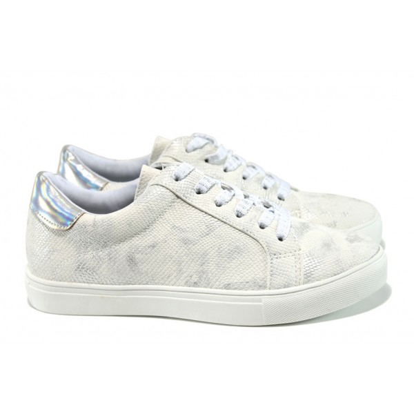 Дамски спортни обувки АБ 15240 бял | Равни дамски обувки | MES.BG