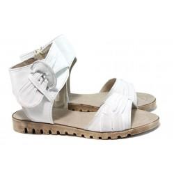 Анатомични български сандали от естествена кожа НЛ 48-16121 бял | Български дамски сандали| MES.BG