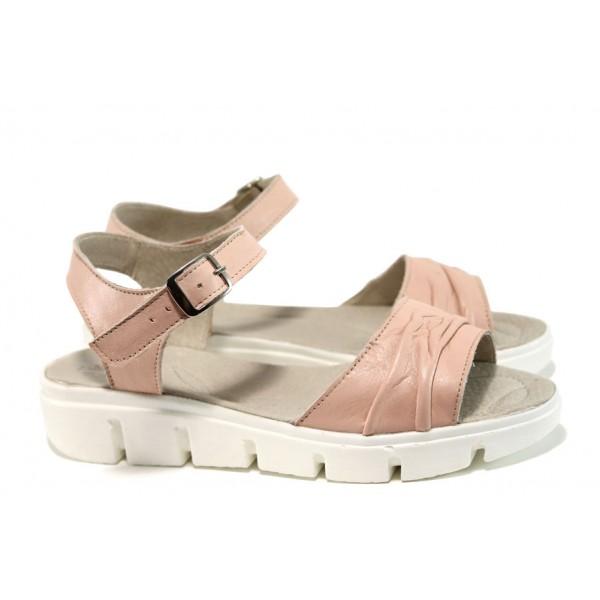 Анатомични български сандали от естествена кожа НЛ 239-382 розов | Равни дамски сандали | MES.BG