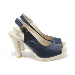 Анатомични сандали от естествена кожа НЛ 204-7976 т.син | Български сандали на ток | MES.BG
