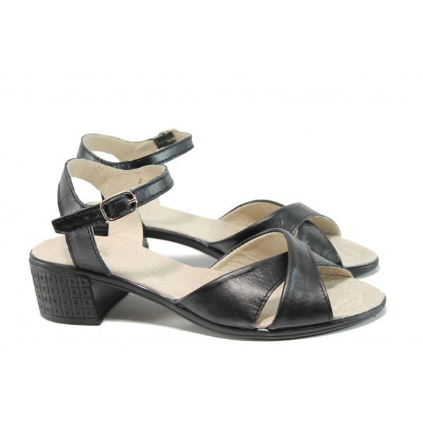 Анатомични дамски сандали от естествена кожа НЛ 240-7251 черен | Български сандали на ток | MES.BG