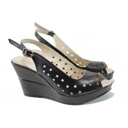 Анатомични български сандали от естествена кожа НЛ 243-10383 черен | Дамски сандали на платформа | MES.BG
