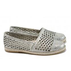 Български ортопедични летни обувки от естествена кожа НБ 3191-1000 сребро | Равни дамски обувки | MES.BG