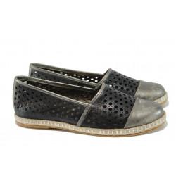 Български ортопедични летни обувки от естествена кожа НБ 3191-1000 черен | Равни дамски обувки | MES.BG