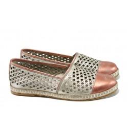 Български ортопедични летни обувки от естествена кожа НБ 3191-1000 розов | Равни дамски обувки | MES.BG
