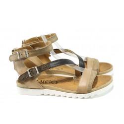 Анатомични дамски сандали от естествена кожа ИО 1686 бежов-кафяв | Равни дамски сандали | MES.BG