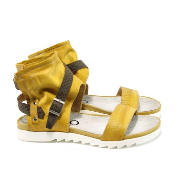 Анатомични български сандали от естествена кожа ИО 1684 жълт | Равни дамски сандали | MES.BG