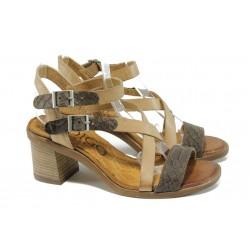 Анатомични дамски сандали от естествена кожа ИО 1673 бежов-кафяв | Дамски сандали на ток | MES.BG
