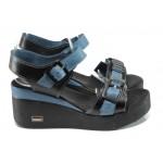 Анатомични дамски сандали от естествена кожа МИ 420 син | Дамски сандали на платформа | MES.BG