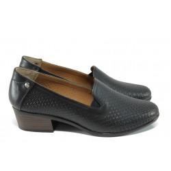 Анатомични дамски обувки от естествена кожа МИ 03-510 черен кожа | Дамски обувки на ток | MES.BG