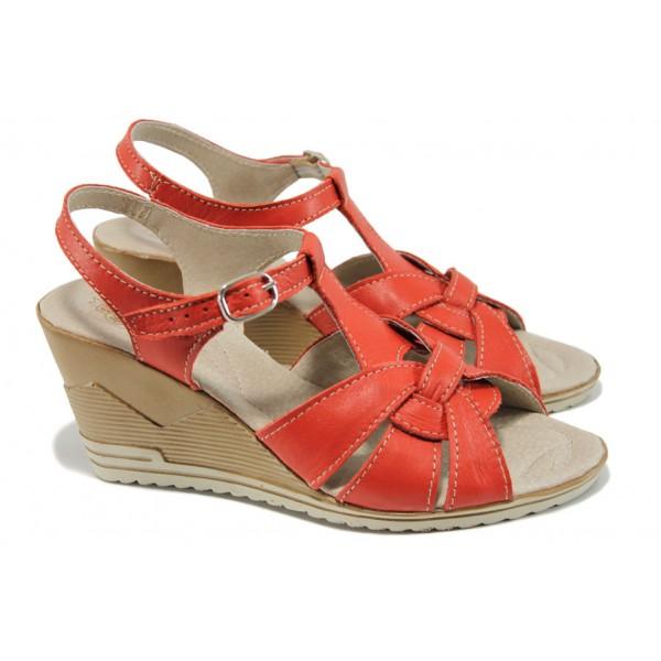 Анатомични български сандали от естествена кожа НЛ 264-15462 червен | Дамски сандали на платформа | MES.BG