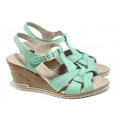 Анатомични български сандали от естествена кожа НЛ 264-15462 зелен | Дамски сандали на платформа | MES.BG