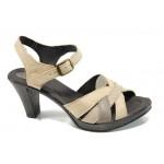 Анатомични дамски сандали от естествена кожа НЛ 202-6843 кафе | Дамски сандали на ток | MES.BG