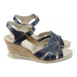 Анатомични български сандали от естествена кожа НЛ 202-15462 син | Дамски сандали на платформа | MES.BG