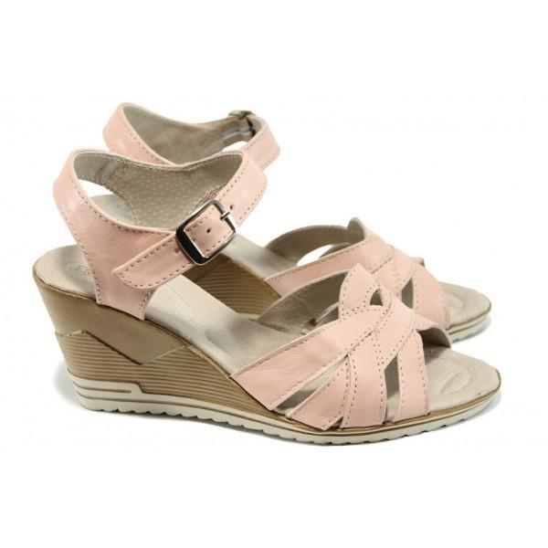 Анатомични български сандали от естествена кожа НЛ 202-15462 розов | Дамски сандали на платформа | MES.BG