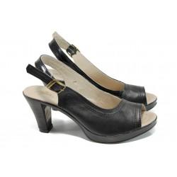 Анатомични дамски сандали от естествена кожа НЛ 204-6843 черен | Дамски сандали на ток | MES.BG