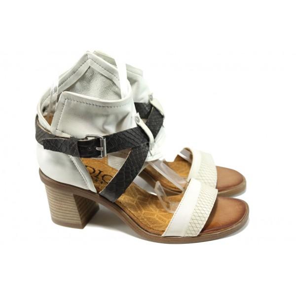 Анатомични български сандали от естествена кожа ИО 1664 бял | Дамски сандали на ток | MES.BG
