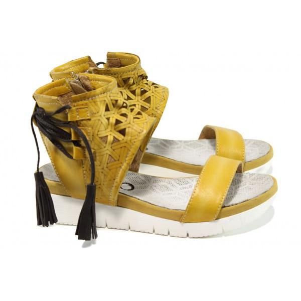 Анатомични български сандали от естествена кожа ИО 1764 жълт | Равни дамски сандали | MES.BG