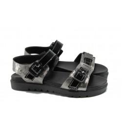 Анатомични дамски сандали МИ 503 сребро | Равни дамски сандали | MES.BG