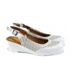 Анатомични дамски обувки от естествена кожа МИ 50-218 бял | Дамски обувки на платформа | MES.BG