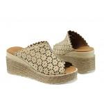 Анатомични дамски чехли от естествена кожа МИ 10 бежов | Дамски чехли на платформа | MES.BG