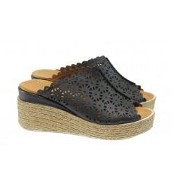 Анатомични дамски чехли от естествена кожа МИ 10 черен | Дамски чехли на платформа | MES.BG