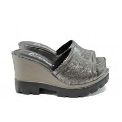 Анатомични дамски чехли от естествена кожа МИ 04 сребро   Дамски чехли на платформа   MES.BG