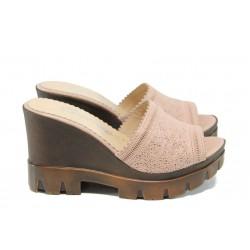 Анатомични дамски чехли от естествена кожа МИ 04 розов | Дамски чехли на платформа | MES.BG