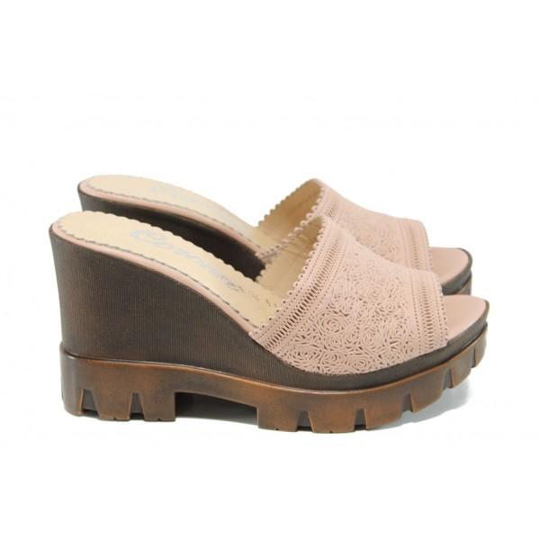 Анатомични дамски чехли от естествена кожа МИ 04 розов   Дамски чехли на платформа   MES.BG