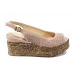 Анатомични дамски сандали от естествена кожа МИ 05 розов | Дамски сандали на платформа | MES.BG