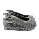 Анатомични дамски сандали от естествена кожа МИ 05 сребро | Дамски сандали на платформа | MES.BG