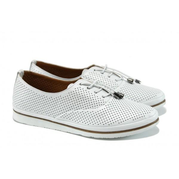 Анатомични дамски обувки от естествена кожа МИ 267 бял | Равни дамски обувки | MES.BG