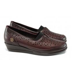 Ортопедични дамски обувки от естествена кожа МИ 1001 бордо | Дамски обувки на платформа | MES.BG