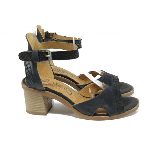 Анатомични български сандали от естествена кожа ИО 1671 черен | Дамски сандали на ток | MES.BG