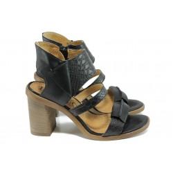 Анатомични дамски сандали от естествена кожа ИО 1754 черен | Дамски сандали на ток | MES.BG