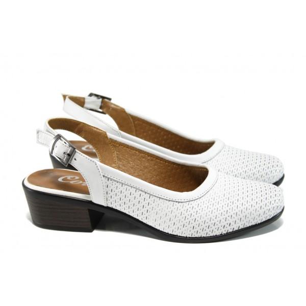 Анатомични дамски обувки на ток МИ 237 бял | Дамски обувки на среден ток | MES.BG