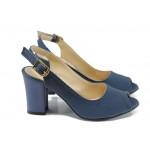Дамски сандали на ток МИ 650-433 син | Дамски сандали на висок ток | MES.BG