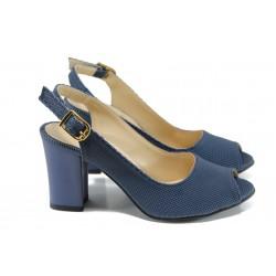 259b7c9436d Дамски сандали на ток МИ 650-433 син | Дамски сандали на висок ток