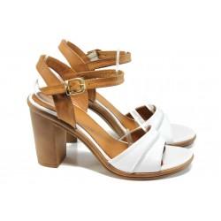 Анатомични дамски сандали от естествена кожа МИ 7813 бял | Дамски сандали на ток | MES.BG