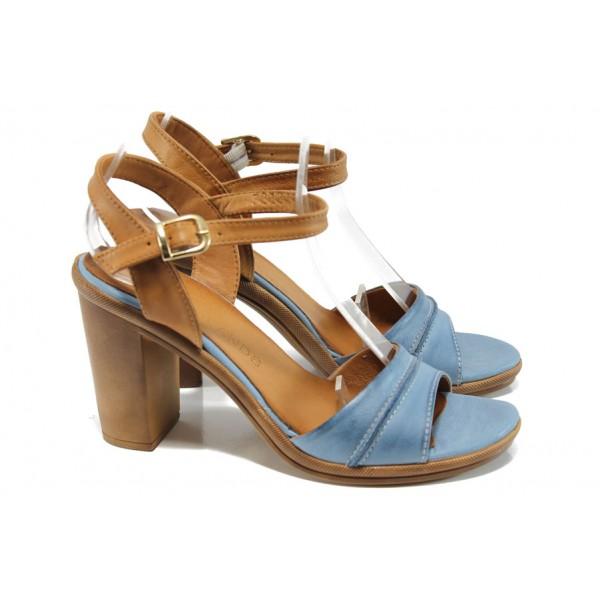 Анатомични дамски сандали от естествена кожа МИ 7813 син   Дамски сандали на ток   MES.BG