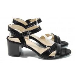 Дамски лачени сандали МИ 090 черен лак | Дамски сандали на среден ток | MES.BG