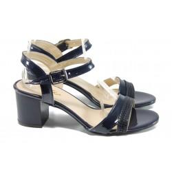 Дамски лачени сандали МИ 090 син лак | Дамски сандали на среден ток | MES.BG