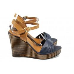 Анатомични дамски сандали от естествена кожа МИ 2812 син | Дамски сандали на платформа | MES.BG