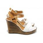 Анатомични дамски сандали от естествена кожа МИ 2812 бял | Дамски сандали на платформа | MES.BG