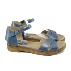 Дамски ортопедични сандали от естествена кожа МИ 36 син | Равни дамски сандали | MES.BG