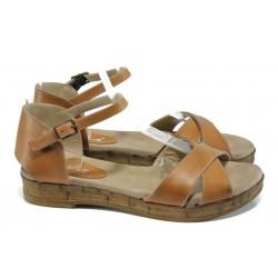 Дамски ортопедични сандали от естествена кожа МИ 36 кафе | Равни дамски сандали | MES.BG